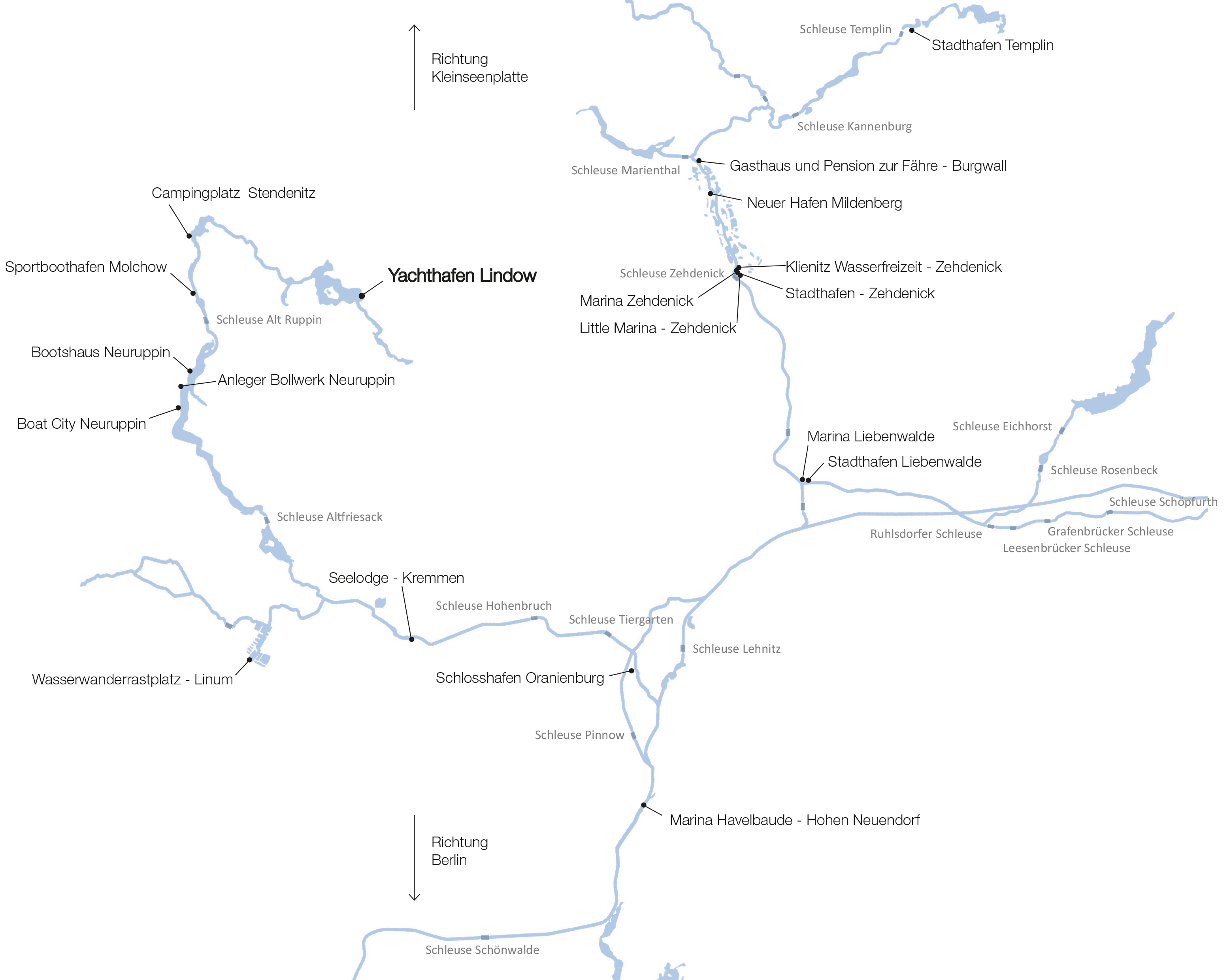 zuHausboot - Karte Ruppiner Seenlandschaft